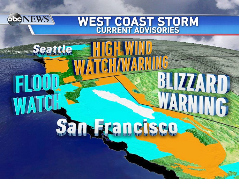 PHOTO: Current Watches and Warnings for the West Coast