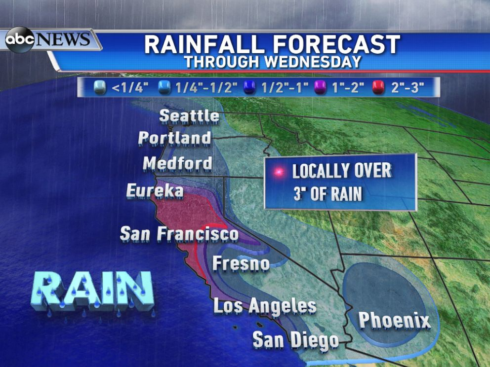 PHOTO: Expected rainfall totals through Wednesday show the highest totals focusing over northern half of California.