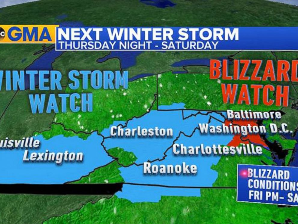 PHOTO:A graphic shows winter storm and blizzard watch areas predicted for Thursday night into Saturday.