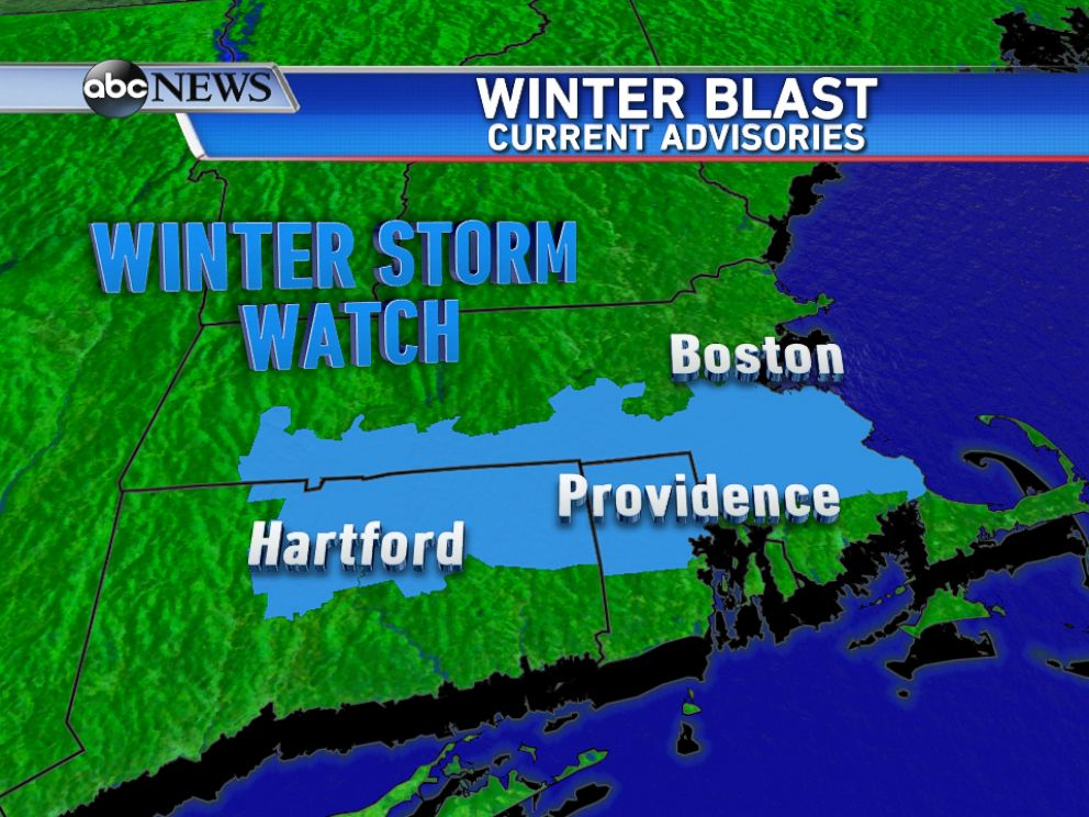 PHOTO: A Winter Storm Watch is now in effect from Hartford, Connecticut to Boston, Massachusetts for another round of accumulating snow arriving Sunday afternoon into Sunday night.