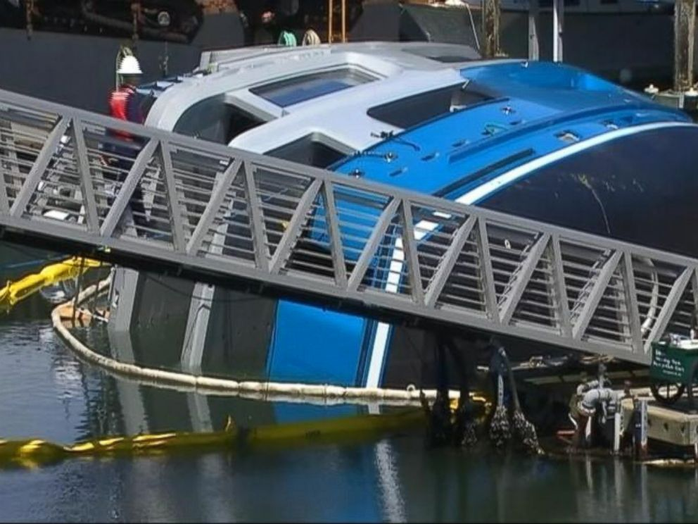 PHOTO: An 85-foot-long yacht overturned while it was being launched at an Anacortes, Wash., May 18, 2014.