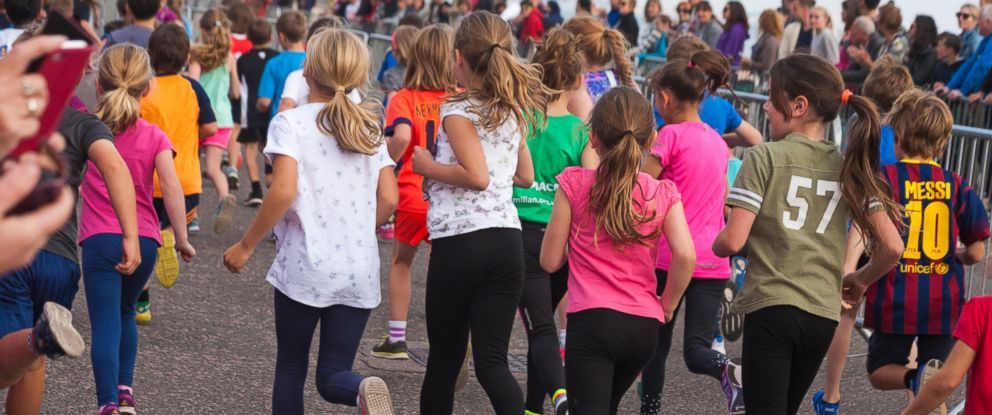 PHOTO: Children take part in a race at the Bournemouth Marathon Festival in Dorset, England, Oct. 3, 2015.