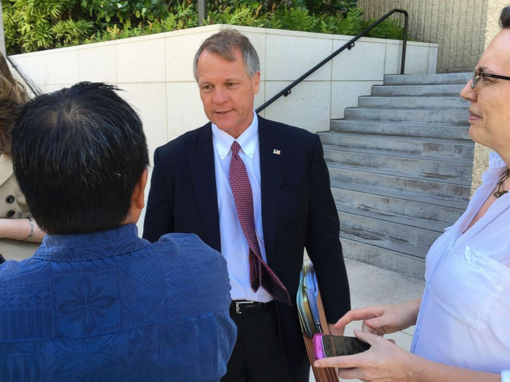 PHOTO: Birney Bervar addresses reporters outside the federal courthouse in Honolulu, July 10, 2017. Bervar was appointed the attorney for Ikaika Kang, a 34-year-old active duty soldier who has been accused of trying to aid the Islamic State.