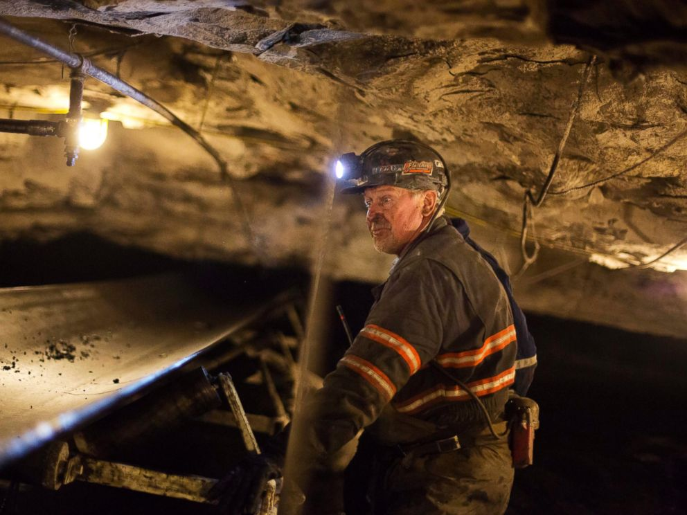 PHOTO: Scott Tiller, a coal miner of 32 years, looks over a belt moving coal out of an underground mine in Welch, W.Va on May 11, 2016.