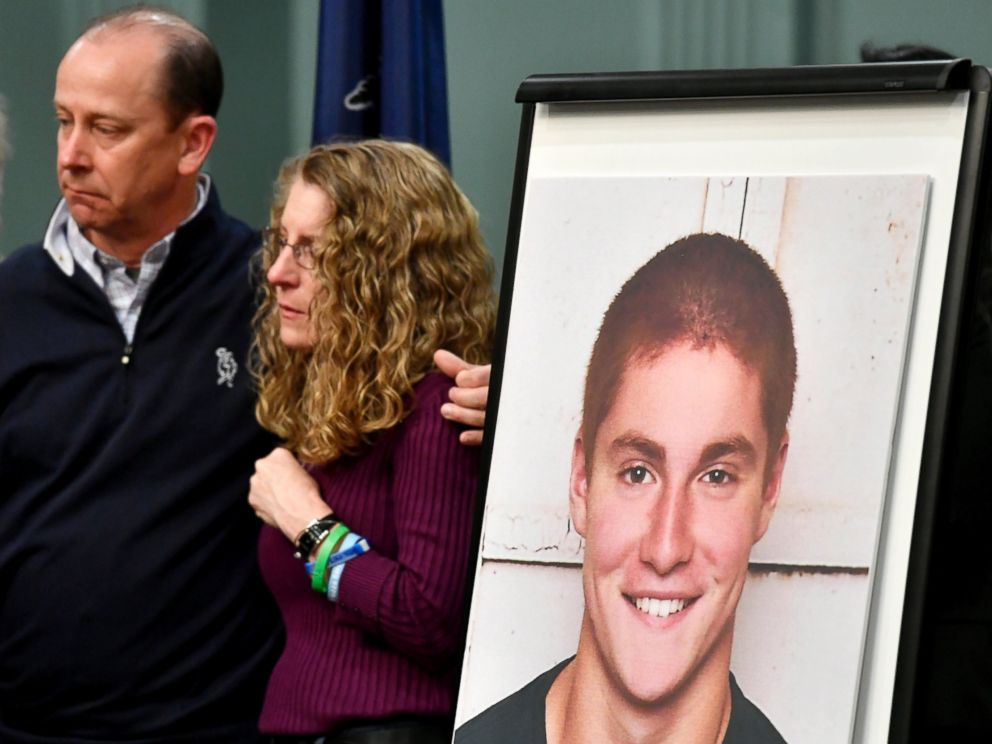 PHOTO: Jim and Evelyn Piazza, the parents of Timothy Piazza, shown in photo, stand together at a press conference where the results of an investigation into the death of their son, were announced, May 5, 2017, in Bellefonte, Pa.
