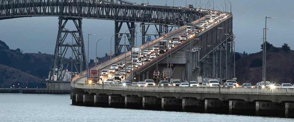 In this Aug. 29, 2013 file photo, traffic slows in the morning commute over the Richmond-San Rafael Bridge in California.