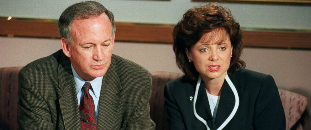 PHOTO: John and Patsy Ramsey is shown meeting reporters on May 1, 1997, in Boulder, Colorado. The couple were interviewed by the police Wednesday and talked to reporters about the murder of their 6-year-old daughter JonBenet Ramsey.