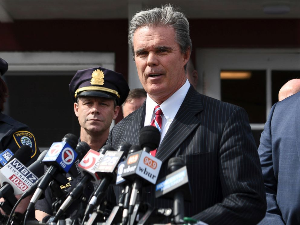 PHOTO: Worcester County District Attorney Joseph Early Jr. speaks to media outside the police department in Princeton, Mass., on April 15, 2017, about the arrest of a man in connection to death of Vanessa Marcotte.