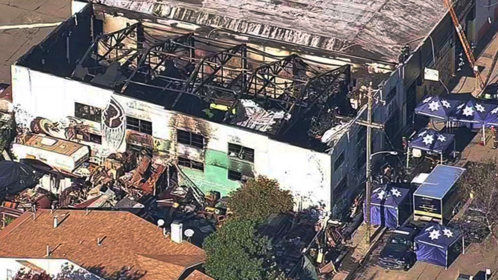 This image from video provided by KGO-TV shows the Ghost Ship Warehouse after a fire that started late Friday swept through the building, Dec. 3, 2016, in Oakland, California.