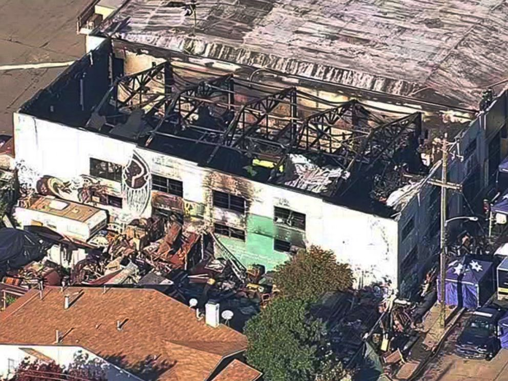PHOTO: This image from video provided by KGO-TV shows the Ghost Ship Warehouse after a fire that started late Friday swept through the building, Dec. 3, 2016, in Oakland, California.