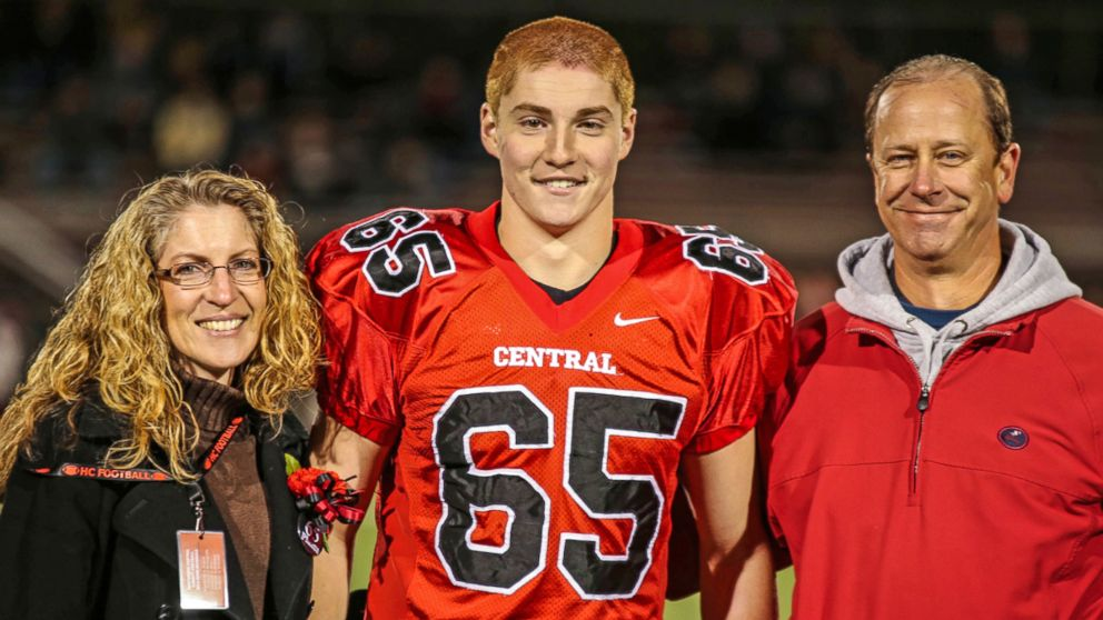 Timothy Piazza, center, with his parents Evelyn Piazza and James Piazza in Flemington, N.J., Oct 31, 2014.