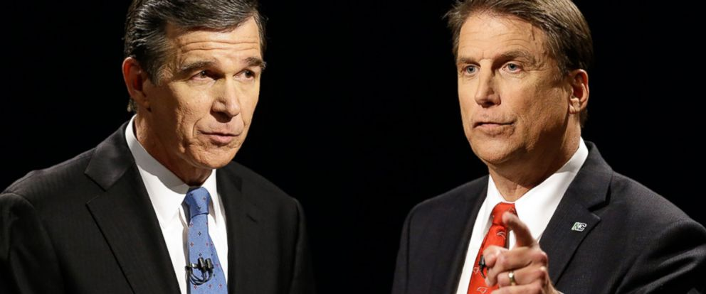 PHOTO: Democratic gubernatorial candidate Attorney General Roy Cooper and North Carolina Republican Gov. Pat McCrory in a live televised gubernatorial debate at UNC-TV studios in Research Triangle Park, North Carolina, Oct. 11, 2016.