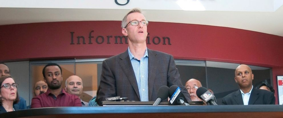 PHOTO: Portland Mayor Ted Wheeler speaks on May 27, 2017, at a news conference after a man fatally stabbed two men Friday on a light-rail train when they tried to stop him from yelling anti-Muslim slurs at two young women in Portland, Ore.