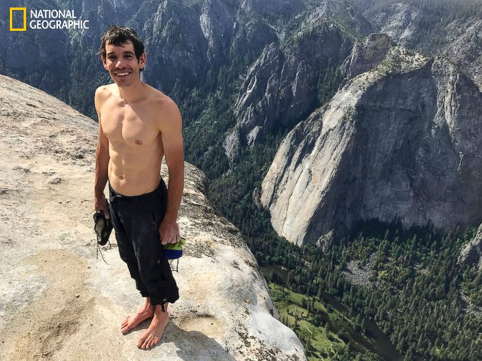 PHOTO: This June 3, 2017, photo provided by National Geographic shows Alex Honnold atop El Capitan in Yosemite National Park, Calif., after he became the first person to climb alone to the top of the massive granite wall without ropes or safety gear.
