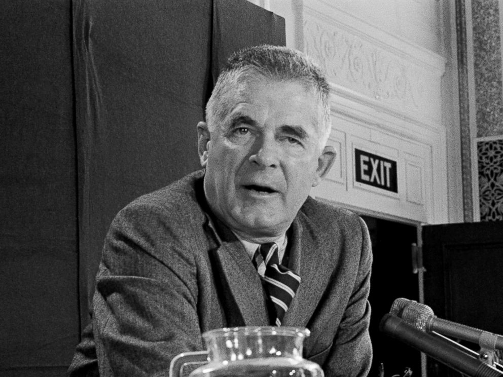 PHOTO: Special Prosecutor Archibald Cox at a news conference, Oct. 20, 1973, in Washington.