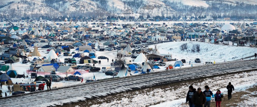 PHOTO: The Oceti Sakowin camp where people have gathered to protest the Dakota Access oil pipeline near Cannon Ball, N.D., Dec. 3, 2016.