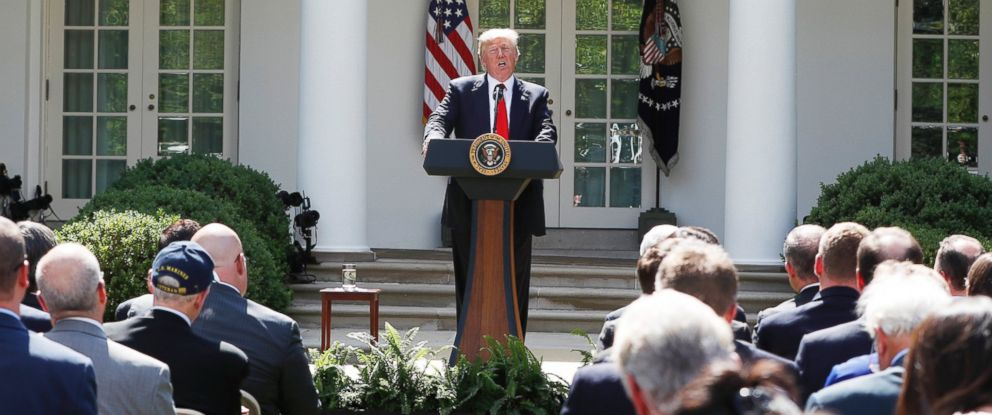 PHOTO: President Donald Trump speaks about the U.S. role in the Paris climate change accord, June 1, 2017, at the White House.