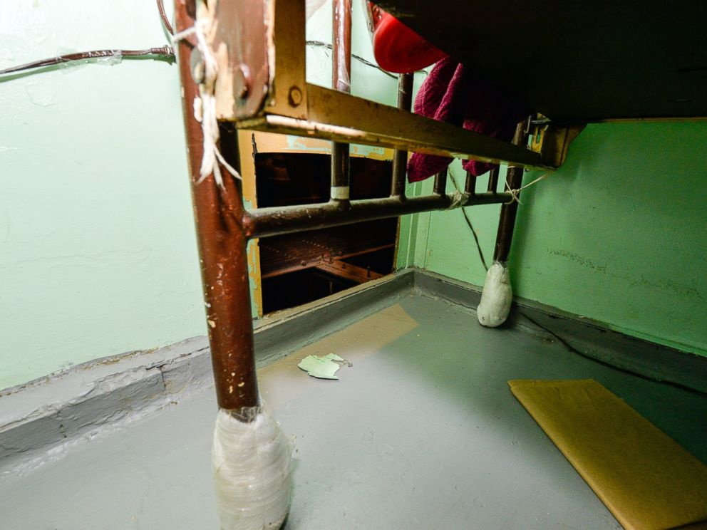 PHOTO: The area where two convicted murderers used power tools to cut through steel pipes at a maximum-security prison in Dannemora, NY, and escaped through a manhole, New York Gov. Andrew Cuomo said, June 6, 2015.