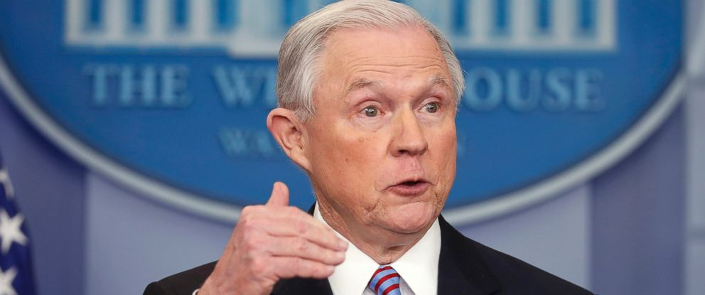 PHOTO: Attorney General Jeff Sessions speaks in the Brady Press Briefing Room of the White House in Washington, March 27, 2017.