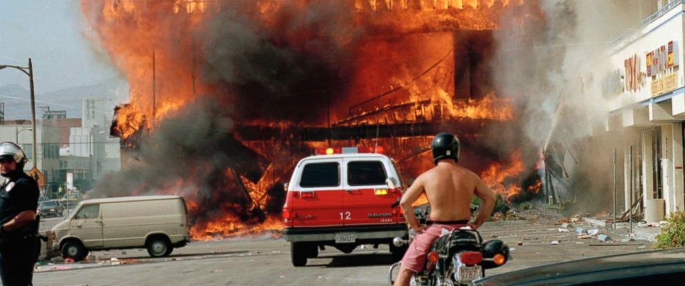 PHOTO: A Korean shopping mall burns at Third Street and Vermont Avenue in Los Angeles in this Thursday, April 30, 1992 file photo on the second day of rioting in the city following the Rodney King assault.