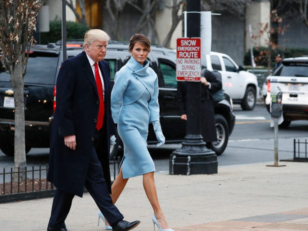 PHOTO: President-elect Donald Trump and his wife Melania arrives for a church service at St. Johns Episcopal Church across from the White House in Washington, Jan. 20, 2017, on Donald Trumps inauguration day.