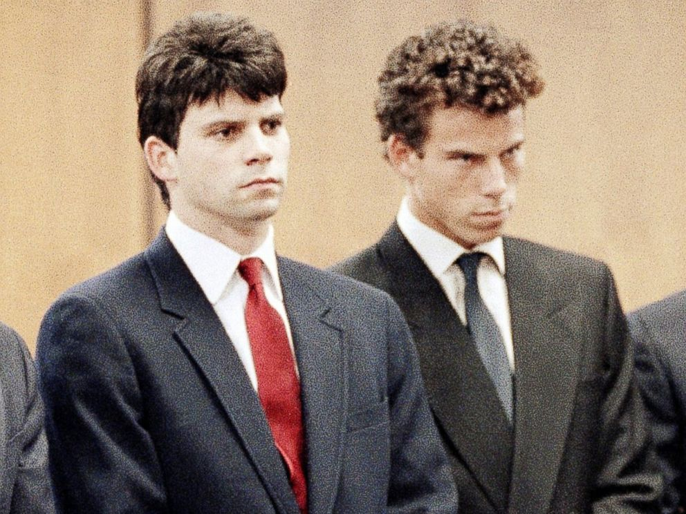 PHOTO: Lyle Menendez, second from left, and his brother, Erik, second from right, are flanked by their attorneys as the brothers delayed entering pleas through their attorneys in Beverly Hills Municipal Court, March 13, 1990.
