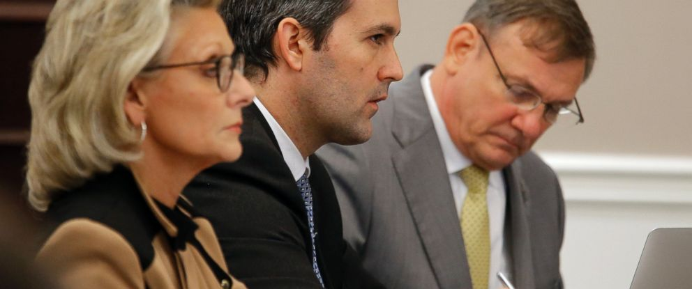 PHOTO: Former North Charleston Police Officer Michael Slager, second from right, sits at the defense table in the courtroom during his trial, Nov. 3, 2016, in Charleston, South Carolina.