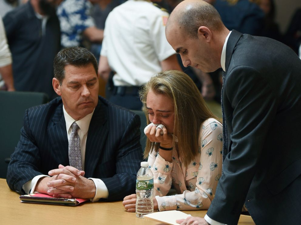 PHOTO: Michelle Carter cries while flanked by defense attorneys Joseph Cataldo, left, and Cory Madera, after being found guilty of involuntary manslaughter in the suicide of Conrad Roy III, June 16, 2017, in Bristol Juvenile Court in Taunton, Mass.