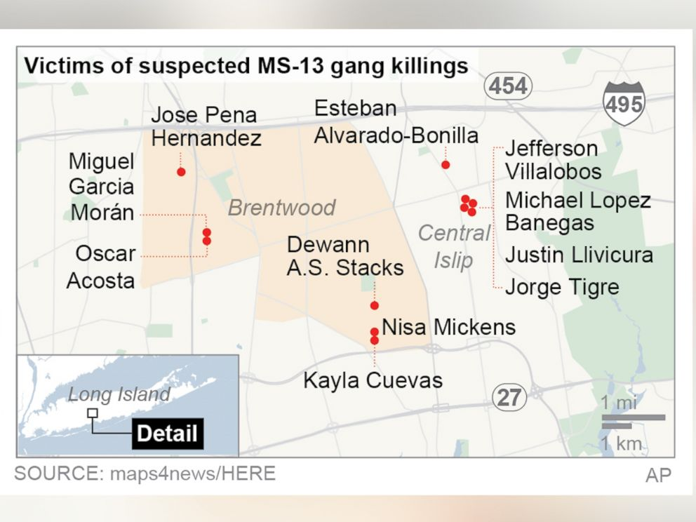 PHOTO: This map locates gang killings on Long Island, New York.