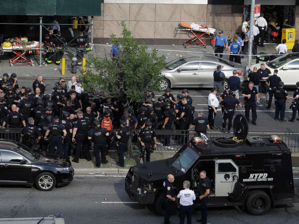 PHOTO: Officials are gathered outside Bronx Lebanon Hospital Center after reports of a shooting, June 30, 2017, in New York.