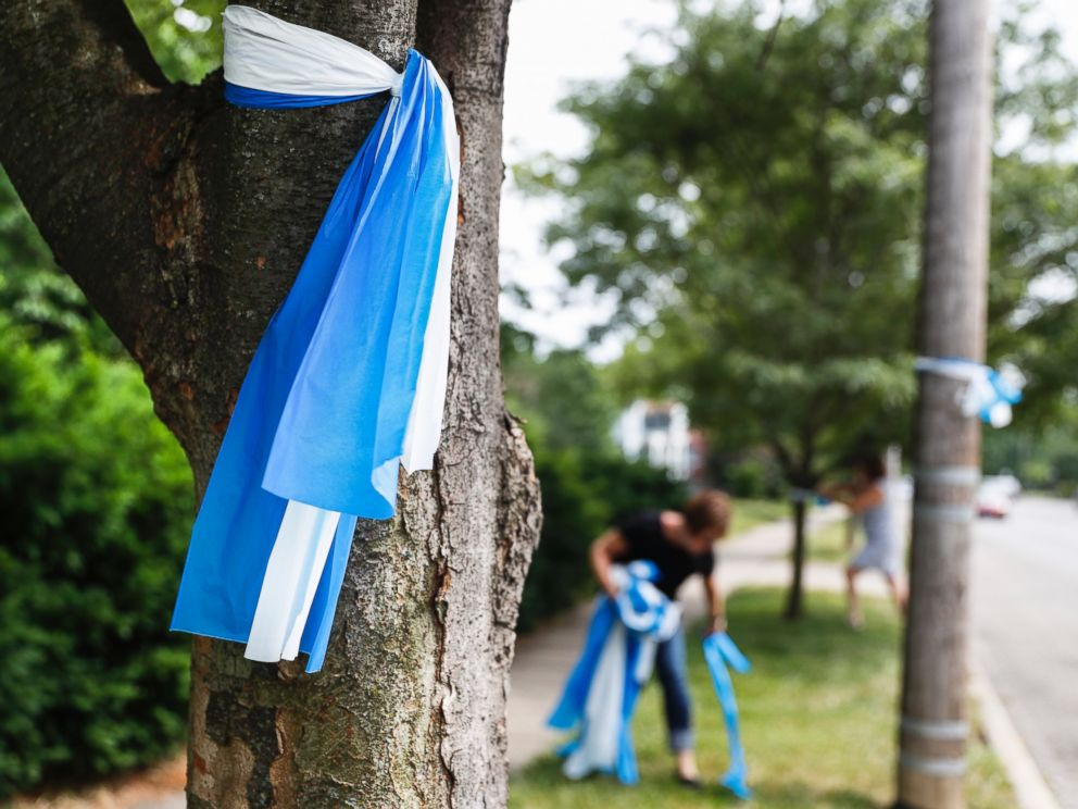 PHOTO: Alison Lebrun, center background, helps tie blue-and-white awareness ribbons along Springfield Pike near the family home of Otto Warmbier, June 13, 2017.