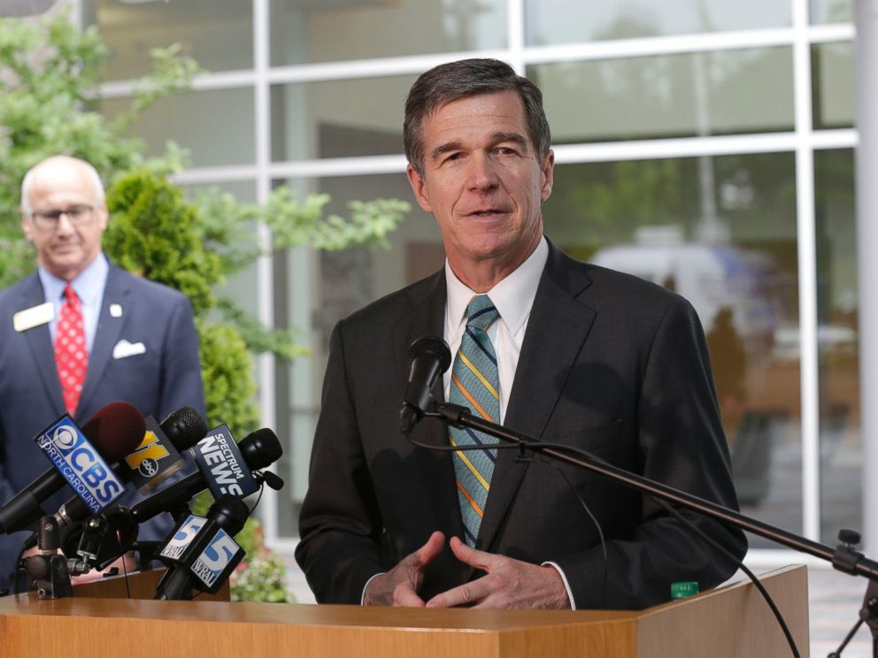 PHOTO: North Carolina Gov. Roy Cooper makes remarks during a news conference at Credit Suisse in Morrisville, N.C., May 9, 2017.