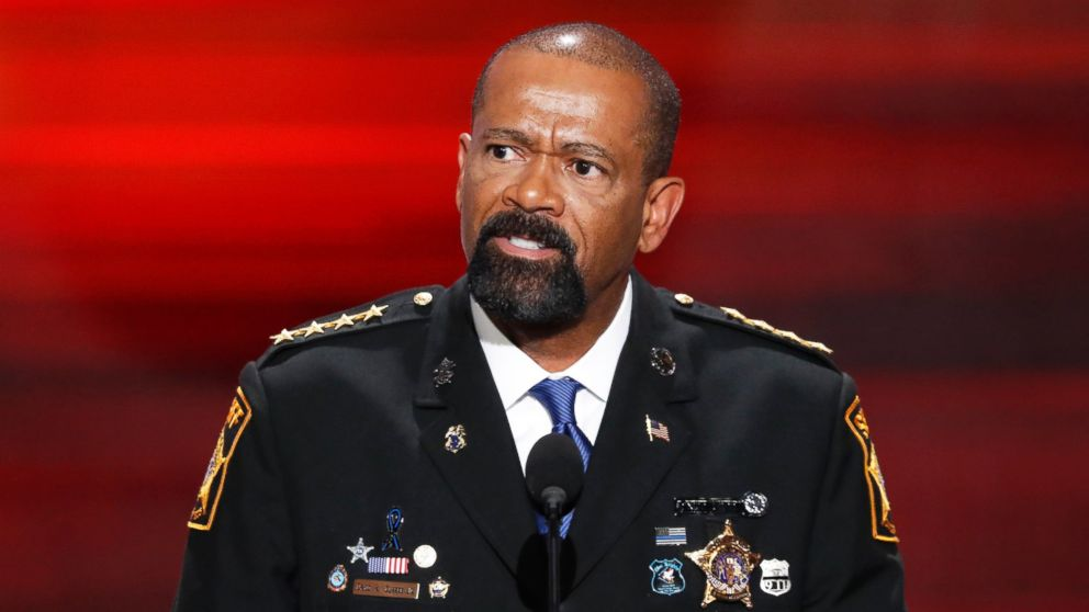 Milwaukee County, Wis. Sheriff David Clarke speaks at the Republican National Convention in Cleveland, July 18, 2016.