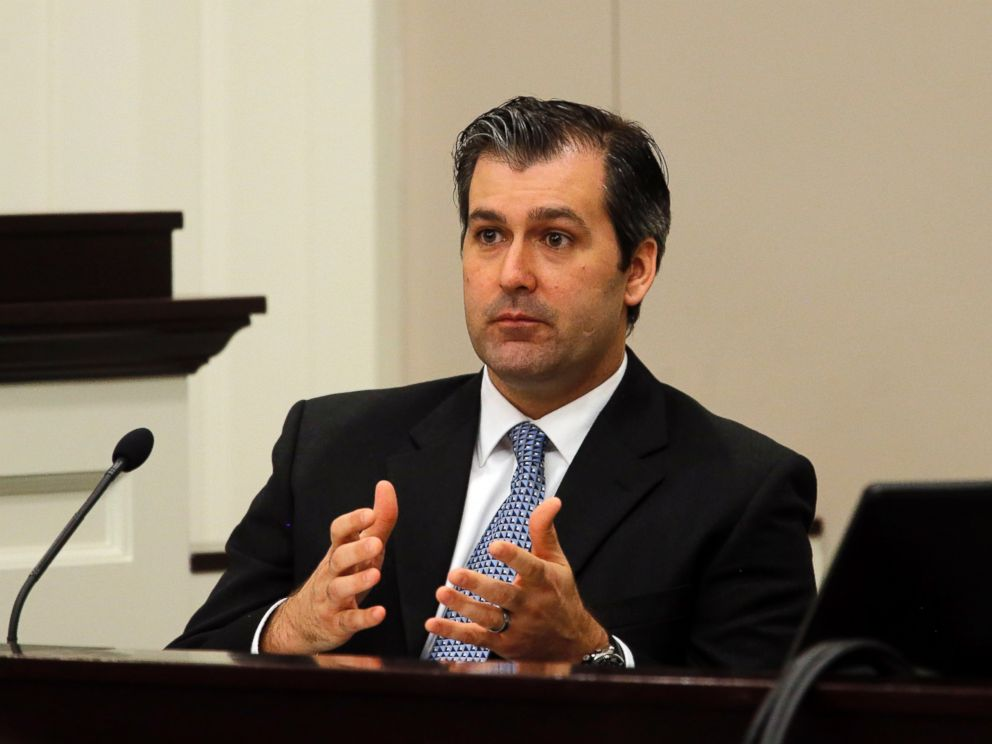 PHOTO: Former North Charleston police officer Michael Slager testifies during his murder trial at the Charleston County court in Charleston, South Carolina, Nov. 29, 2016.