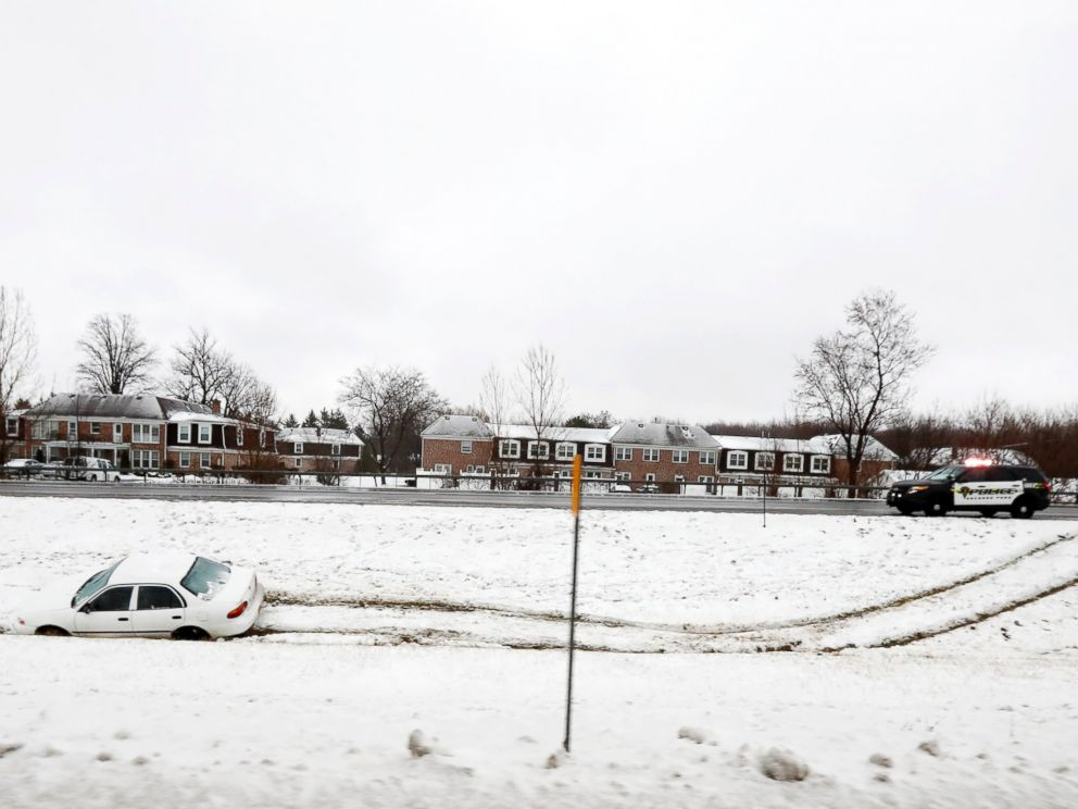 PHOTO: A vehicle rests in a median ditch after skidding into it on Route 219, Dec. 12, 2016, in Orchard Park, New York.