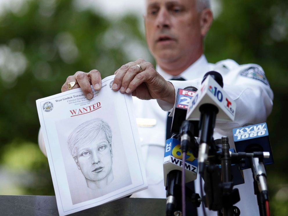 PHOTO: West Goshen Police Chief Joseph Gleason holds a sketch of a suspected road rage shooter during a news conference outside police headquarters, June 30, 2017, in West Goshen, Pa.
