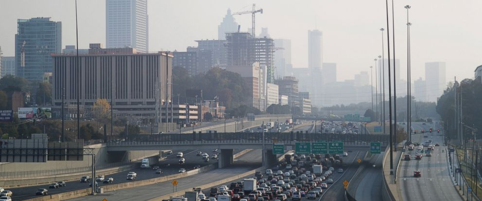 PHOTO: A haze hovers over the downtown skyline from a wildfire burning in the northwest part of the state, Nov. 14, 2016, in Atlanta.