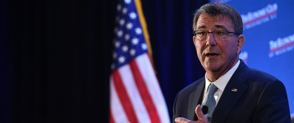 PHOTO: Ash Carter speaks about the upcoming Defense Departments budget, Feb. 2, 2016, during a speech at the Economic Club of Washington.