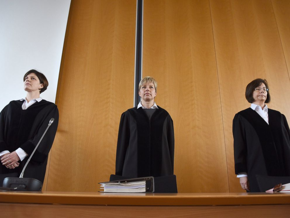 PHOTO: Preseding judge Anke Grudda, center, and judges Sabine Tegethoff-Drabe, left, and Sylvia Suermann, right, are pictured prior to the opening of the trial against a former Auschwitz guard at court in Detmold, Germany, Feb. 11, 2016.