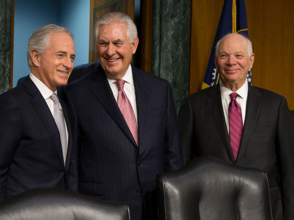Sen. Ben Cardin, right, with Secretary of State Rex Tillerson, has been outspoken against President Trumps foreign policy.