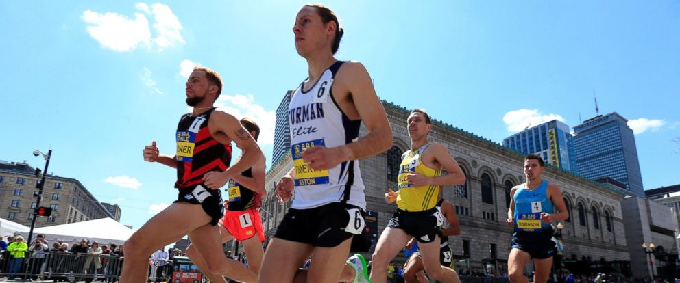 PHOTO: Runners compete in the Invitational Mile on, April 19, 2014, in Boston in advance of the 118th Boston Marathon.