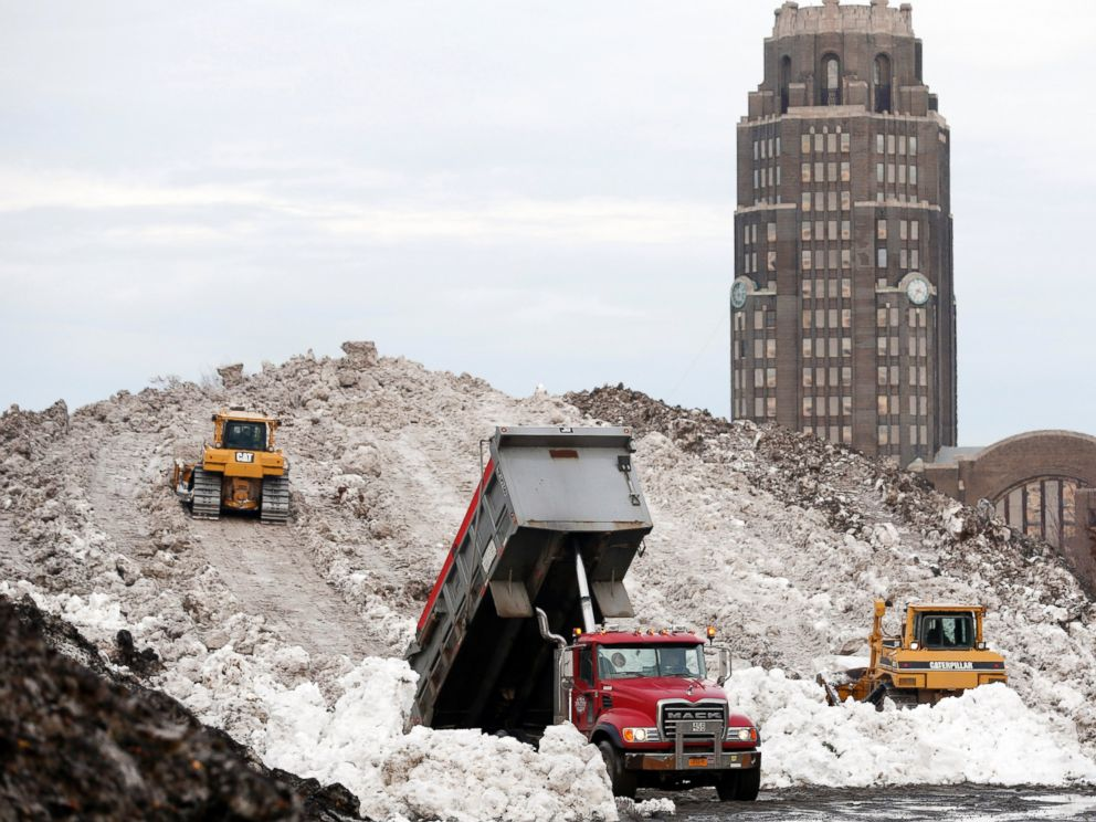PHOTO: In this Nov. 23, 2014 file photo, dump truck unloads snow at the Central Terminal that was removed from south Buffalo neighborhoods after heavy lake-effect snowstorms in Buffalo, N.Y.