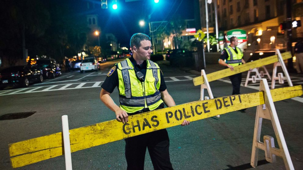 Police close off a section of Calhoun Street near the Emanuel AME Church following a shooting, June 17, 2015, in Charleston, South Carolina.