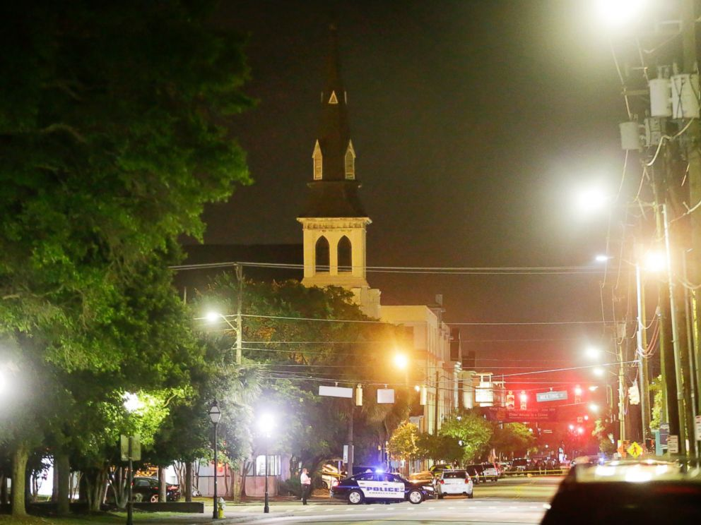 PHOTO: The steeple of Emanuel AME Church is visible as police close off a section of Calhoun Street in Charleston, South Carolina, June 18, 2015.