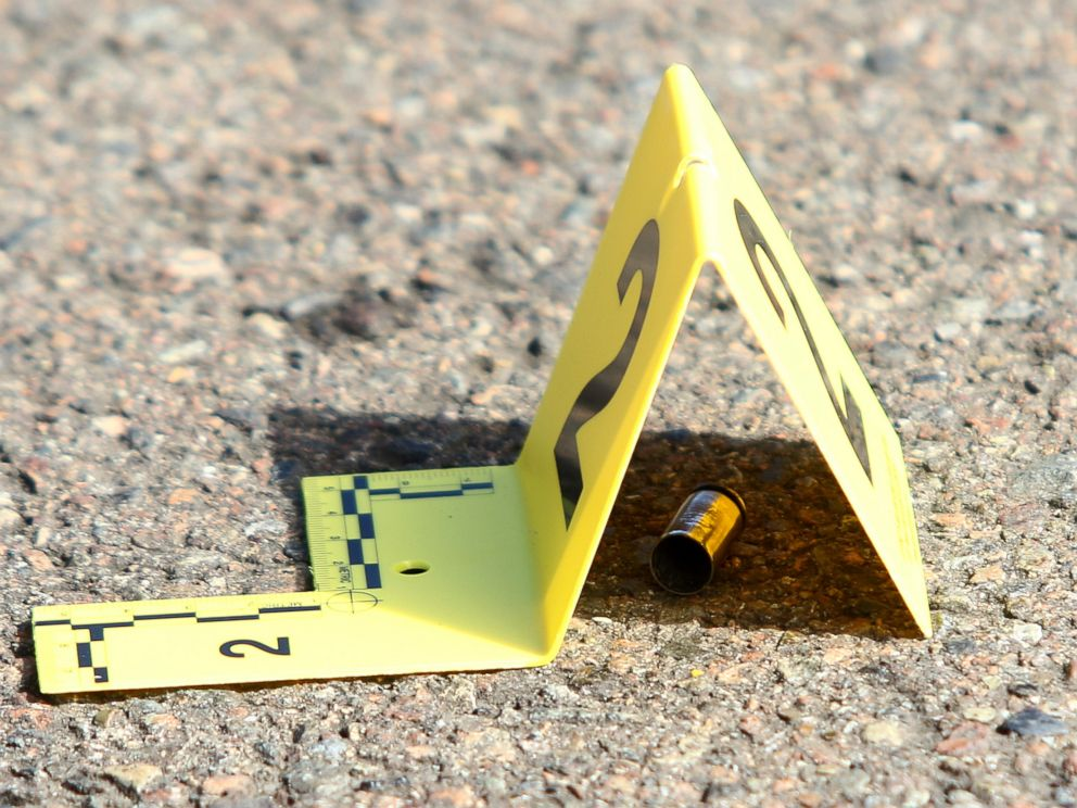 PHOTO: A bullet casing is marked at the scene of a deadly shooting at Umpqua Community College in Roseburg, Ore., Oct. 1, 2015.