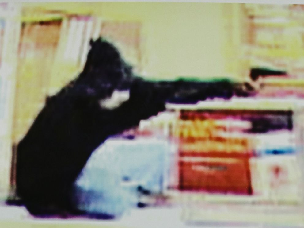 PHOTO: Frame grabs from security video showing an armed robbery at a Wendys restaurant in Omaha, Neb., released Aug. 27, 2014.