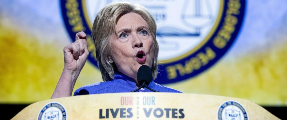 PHOTO: Democratic presidential candidate Hillary Clinton speaks at the 107th NAACP annual conference at the Duke Energy Convention Center in Cincinnati, July 18, 2016.