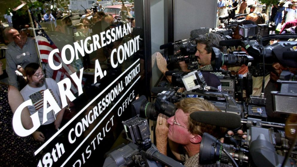 A group of demonstrators present a letter calling for his resignation inside of Rep. Gary Condit's office in Modesto, California, on July 17, 2001. The Chandra Levy missing person's case drew national attention because of the link to Condit, who reportedly had been having an affair with her.