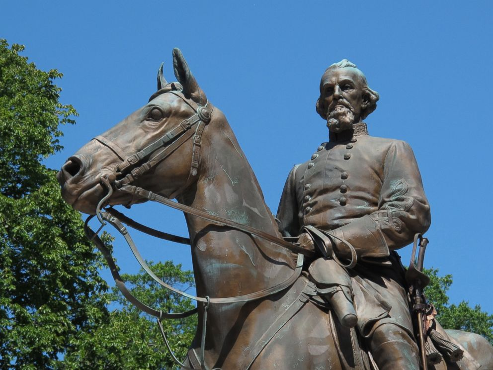 PHOTO: File- In this Aug. 18, 2017, photo, a statue of Confederate Gen. Nathan Bedford Forrest sits in a park in Memphis, Tenn.