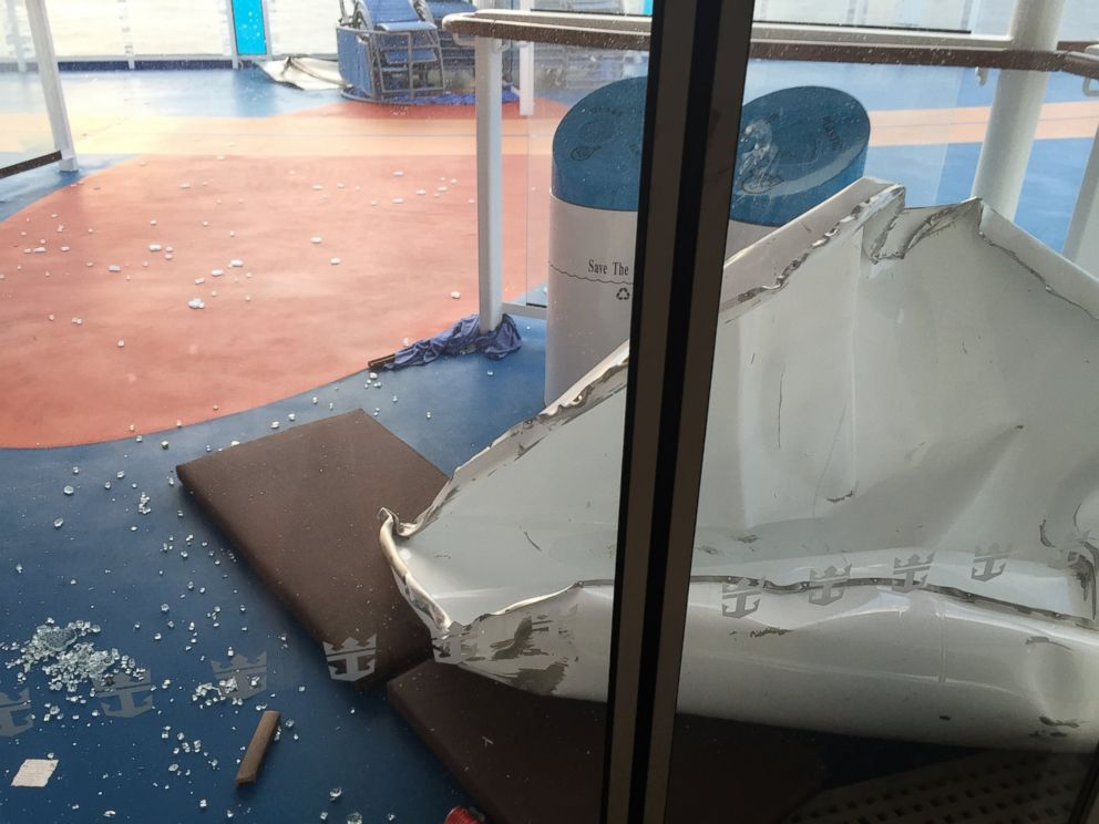 PHOTO: This image made available by Flavio Cadegiani shows damage to Royal Caribbeans ship Anthem of the Seas, Feb. 8, 2016. The ship ran into high winds and rough seas in the Atlantic Ocean forcing passengers into their cabins overnight.